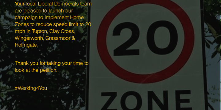Liberal Democrats launch 20 mph Speed Zone campaign