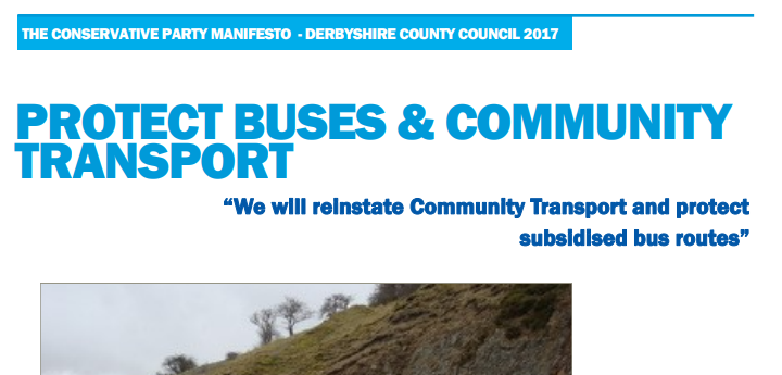 Subsidised bus route U-Turn by Derbyshire Tories
